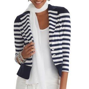 WHBM Navy & White Stripe Knit Jacket